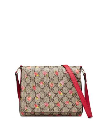 Girls' Strawberry-Print GG Supreme Canvas Messenger Bag, Beige/Multicolor