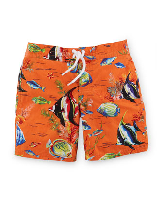 Sanibel Angelfish Tie-Front Swim Trunks, Orange, Size 2-7