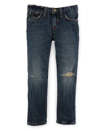 Distressed Cotton Skinny Jeans, Blue, Size 2-7