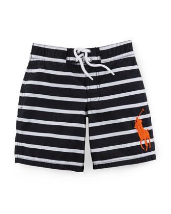 Sanibel Striped Tie-Front Swim Trunks, Size 2-7