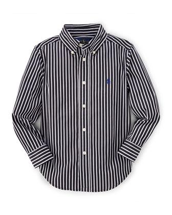 Striped Slim-Fit Poplin Shirt, Black, Size 2-7