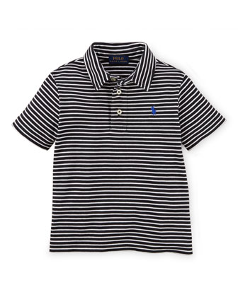 Striped Short-Sleeve Pima Polo Shirt, Black/White, Size 2-7
