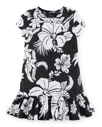 Cap-Sleeve Floral Shift Dress, Polo Black, Size 2-6X