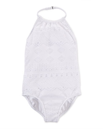 High-Neck Crochet One-Piece Swimsuit, White, Size 2-6X