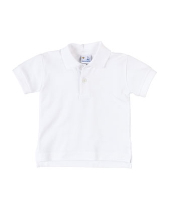 Short-Sleeve Cotton Pique Polo Shirt, White, Size 3-24 Months