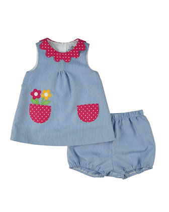 Sleeveless Striped Corduroy Dress & Bloomers, Blue, Size 3-24 Months