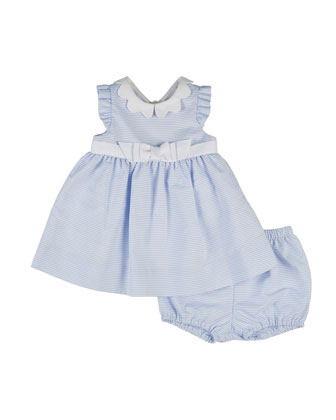 Sleeveless Ottoman Dress & Bloomers, Blue/White, Size 3-24 Months