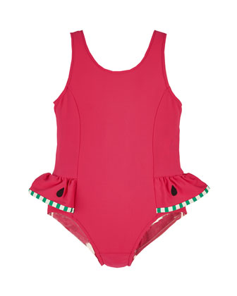Watermelon One-Piece Swimsuit, Pink, Size 6-24 Months
