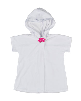 Hooded Floral-Trim Terry Coverup, White, Size 6-24 Months