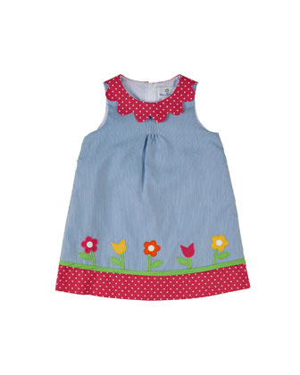 Striped Polka-Dot-Trim Shift Dress, Blue, Size 2-6