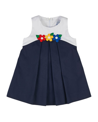 Sleeveless Pique Colorblock Shift Dress, Navy/White, Size 2-6