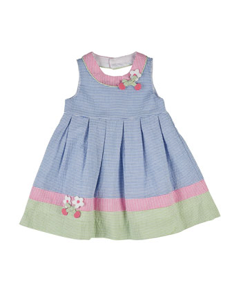 Striped Cherry-Trim Seersucker Dress, Multicolor, Size 2-6