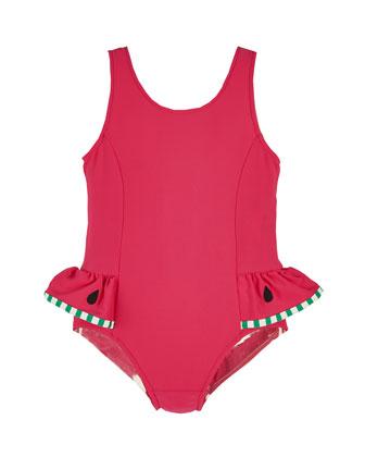 Watermelon One-Piece Swimsuit, Pink, Size 2-6X