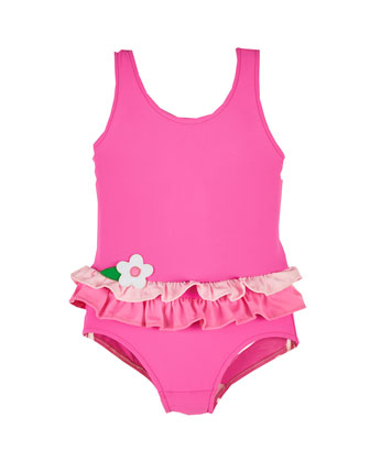 Solid Double-Ruffle Swimsuit, Pink, Size 2-4