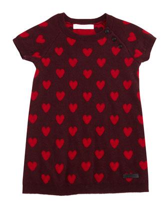 Haylie Knit Heart-Print Shift Dress, Deep Claret, Size 3M-3