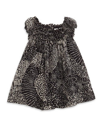 Vera Multipattern Silk Dress, Black, Size 3M-3