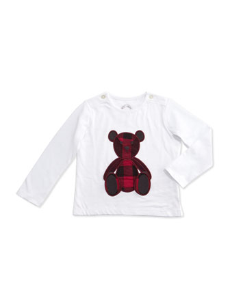 Long-Sleeve Teddy Bear Jersey Tee, White, Size 6M-3