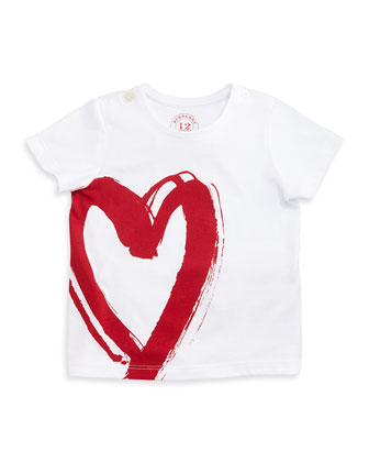 Short-Sleeve Heart Tee, White/Red, Size 6M-3
