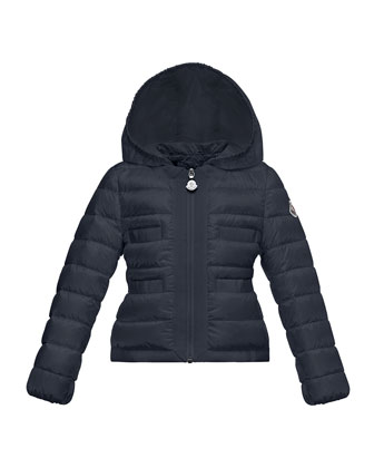 Alose Hooded Lightweight Down Puffer Coat, Navy, Size 4-6