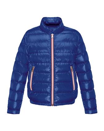 Rigel Zip-Front Lightweight Down Puffer Coat, Dark Blue, Size 2-6