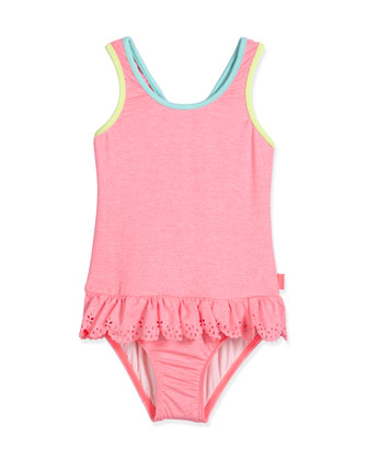 Jewel Cove Skirted One-Piece Swimsuit, Pink Soda, Size 2-7