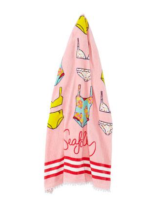 Spring Bloom Kids' Cotton Velour Beach Towel, Multicolor