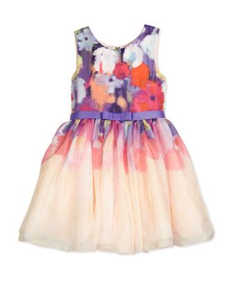 Ombre Floral Chiffon A-Line Dress, Multicolor, Size 2-6