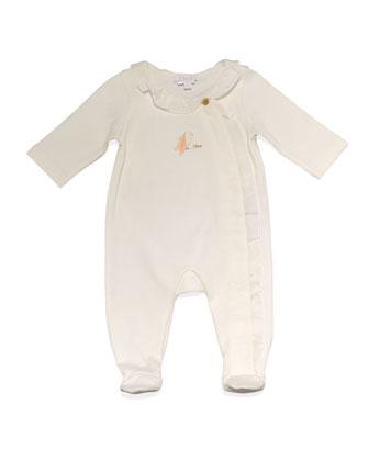Cotton Ruffle-Trim Footie Pajamas, Cream, Size Newborn-6 Months
