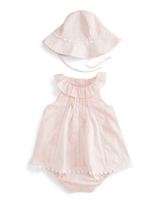 Sleeveless Collared Play Dress w/ Sun Hat, Light Pink, Size 3-12 Months ...