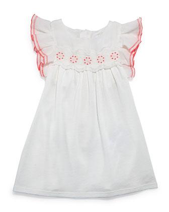 Sleeveless Ruffle-Trim Jersey Dress, Cream