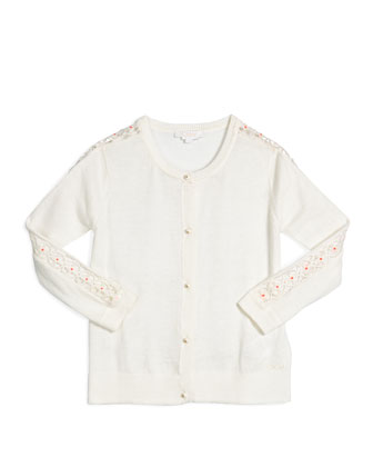 Embroidered Button-Front Cardigan, Cream, Size 4-5