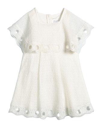 Guipure Couture Popover Dress, Cream, Girls' Size 6-10