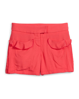 Twill Ruffle-Trim Shorts, Pink, Size 6-10