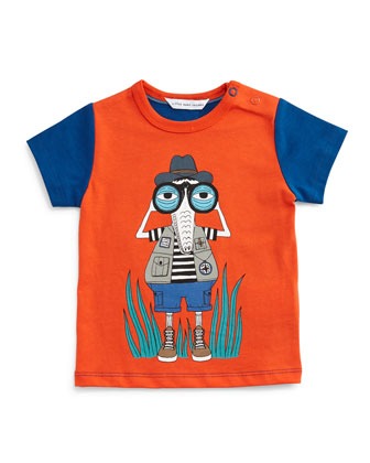 Cotton Crocodile Jersey Tee, Red-Orange/Blue, Size 12-18 Months