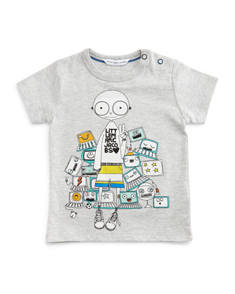 Cotton Mr. Marc Graphic Tee, Gray, Size 2-3