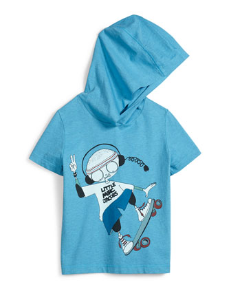 Hooded Mr. Marc Graphic Tee, Blue, Size 6-8