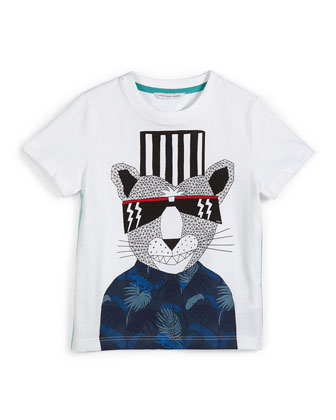 Short-Sleeve Fancy Panther Jersey Tee, White, Size 4-5