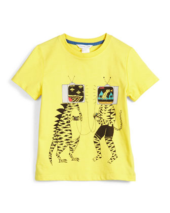 Short-Sleeve TV-Head Jersey Tee, Yellow, Size 4-5