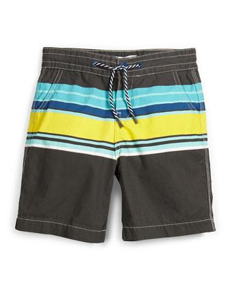 Striped Poplin Board Shorts, Multicolor, Size 4-5