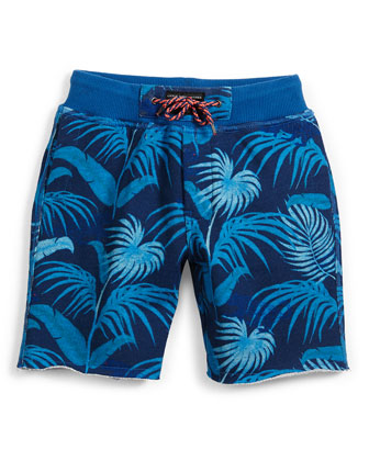 Terry-Lined Jungle Shorts, Blue, Size 6-8
