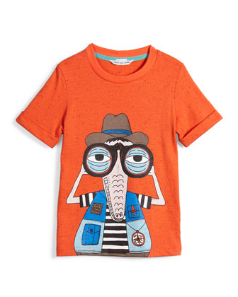 Crocodile Cotton-Blend Jersey Tee, Orange, Size 4-5