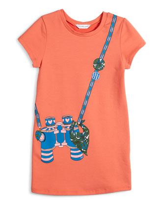Short-Sleeve Binocular Trompe l'Oeil Dress, Size 4-5