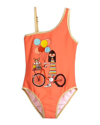 Metallic-Trim Ms. Marc One-Piece Swimsuit, Coral, Size 6-8