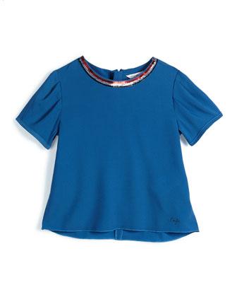 Sequin-Trim Short-Sleeve Crepe Blouse, Dark Blue, Size 6-10