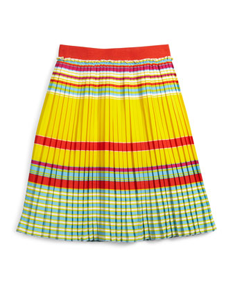 Pleated Crepe A-Line Skirt, Multicolor, Size 6-10