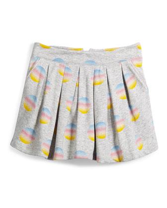 Pleated Fleece Polka-Dot Skirt, Gray, Size 4-5