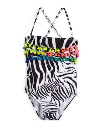 Zebra-Print One-Piece Swimsuit, African Rays, Girls' Size 2-10