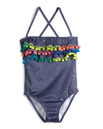 Pom-Pom One-Piece Swimsuit, Sparkle Denim, Girls' Size 2-10