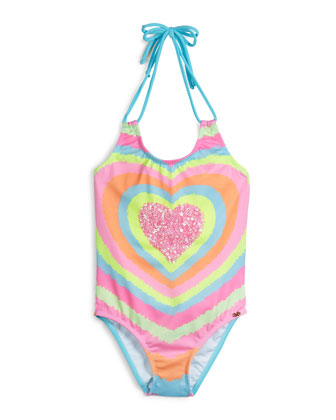 Neon Heart Embroidered One-Piece Swimsuit, Multicolor, Size 2-10