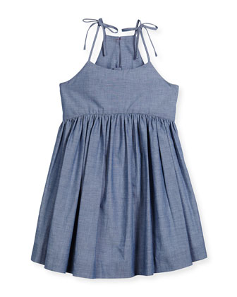 Sleeveless Chambray Tank Dress, Denim, Size 4-7